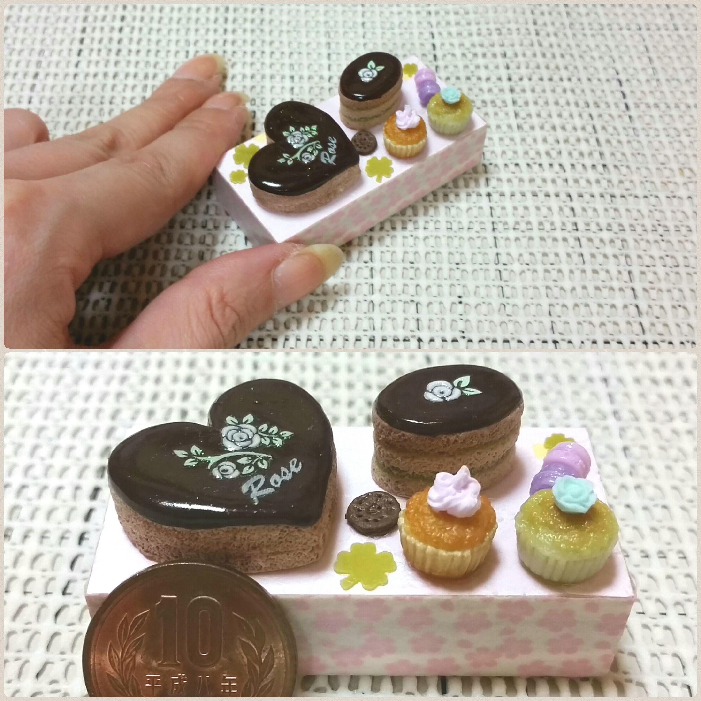 ミニチュアフード,おいしいチョコレートケーキ,紙樹脂粘土,スイーツ