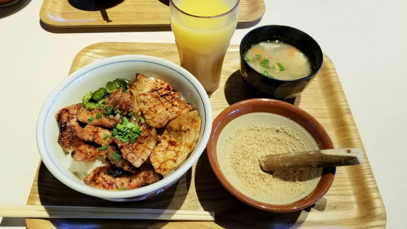愛媛県松山市グルメおいしい豚丼マテラワンコインランチパスポート