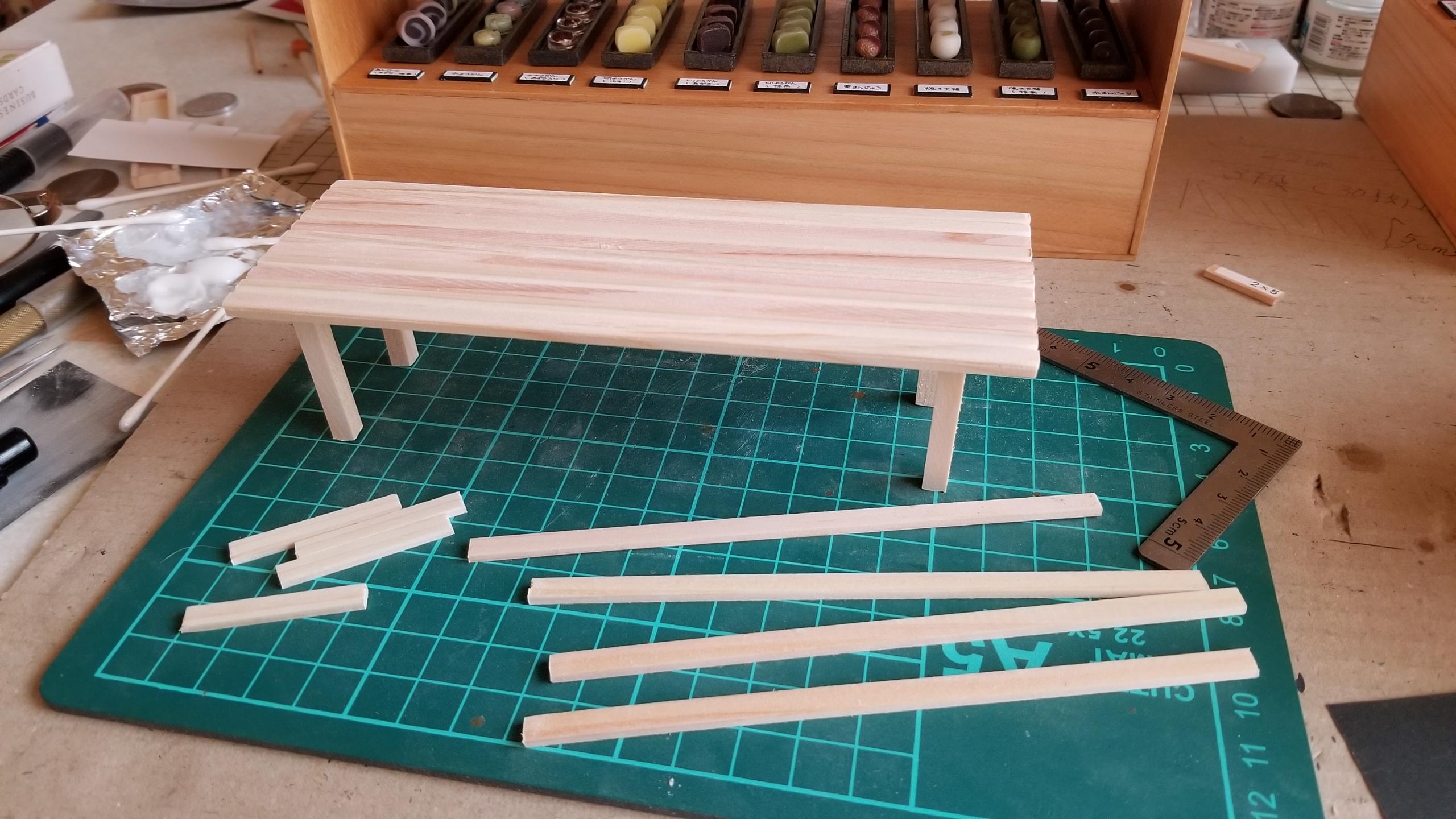 ミニチュアフード,机,長椅子,テーブル,和菓子屋,作り方,DIY,可愛い