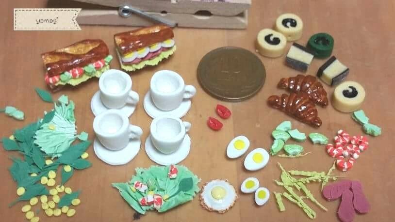ミニチュアフード,小さな食べ物食品パン,樹脂粘土,まとめ工程画像