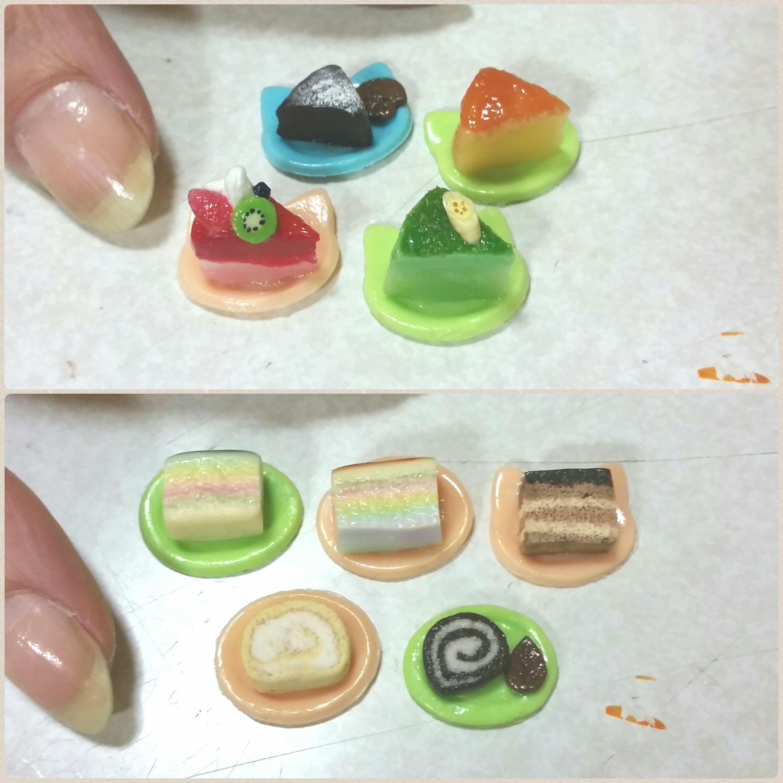 ショートケーキ,ミニチュアフード,樹脂粘土,初心者,よもぎブログ