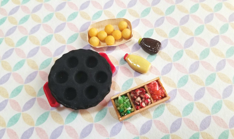 たこ焼き器,作り方,ミニチュアフード,樹脂粘土,調味料,木箱,,薬味