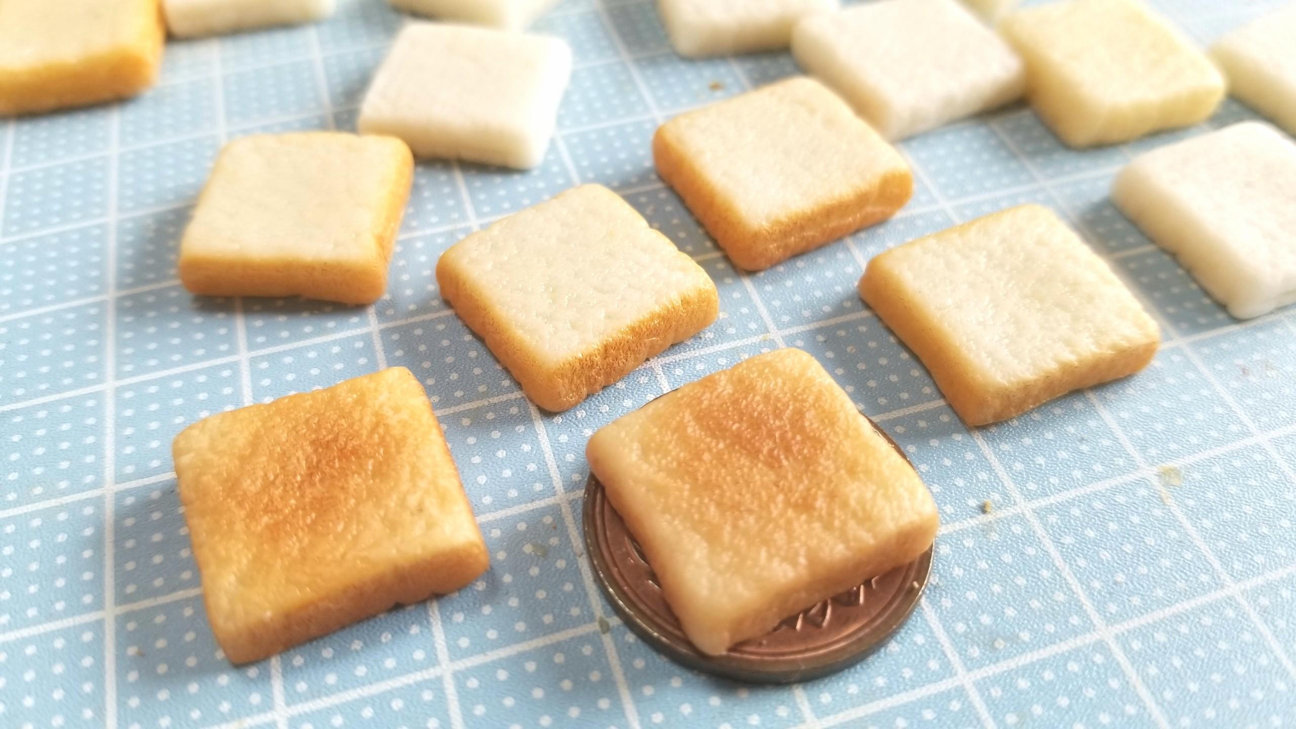 ミニチュアフードトースト,粘土アート自作,ミンネで販売中,おもちゃ