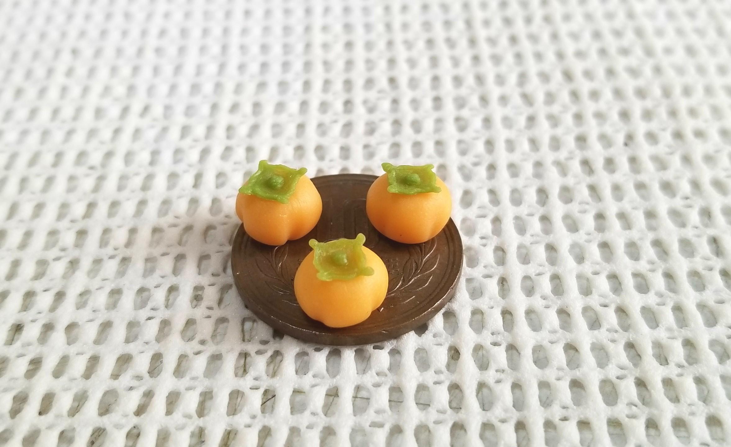 ミニチュアフード,和菓子,柿,樹脂粘土,練りきり,ブライス,オビツ11