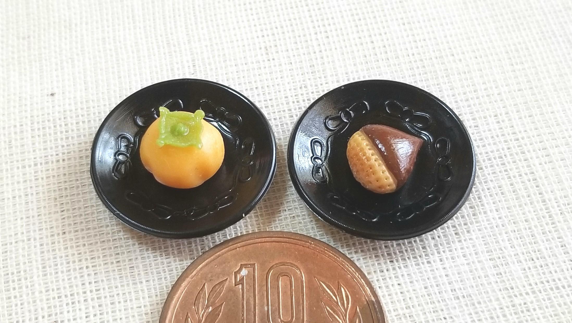 秋の味覚,和菓子,柿栗,ミニチュアフード,粘土,ドール用小物,人形