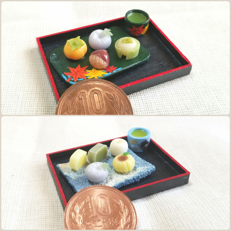 陶器風和皿,和菓子,ミニチュアフード,樹脂粘土,ミンネで販売中,四季