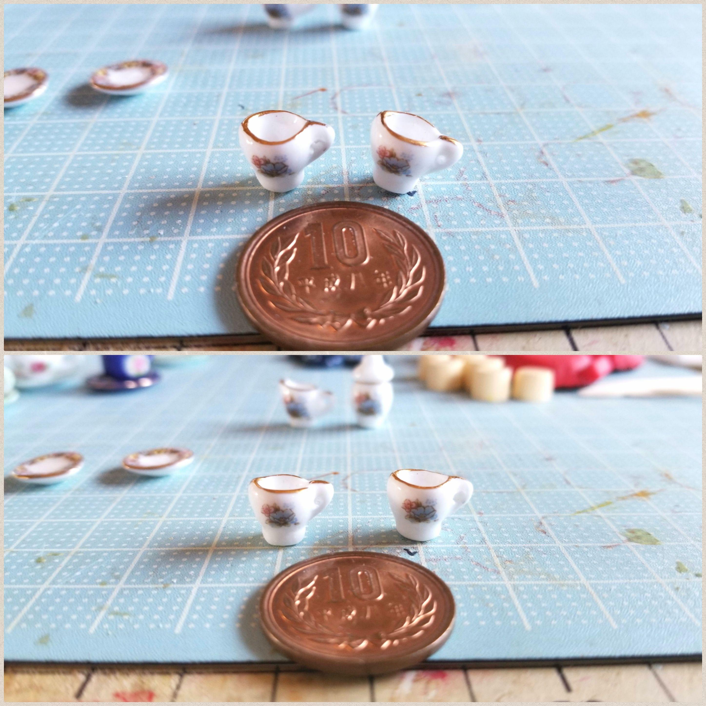 ミニチュアフード作り方,陶器のティーカップ,丁寧な作業を心掛ける