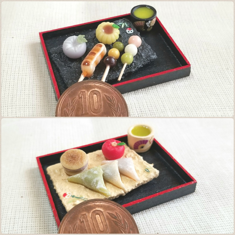 陶器風和食器,和菓子,ミニチュアフード,樹脂粘土,ミンネで販売中,柄