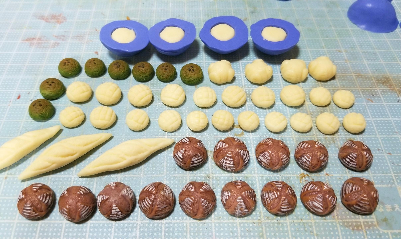 ミニチュア, パン製作, メロンパン, よもぎパン, 樹脂粘土