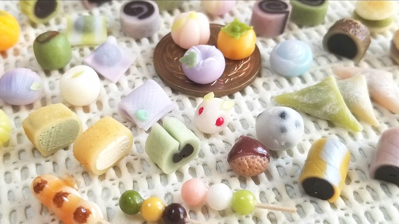 かわいいミニチュア和菓子,手作りアート,おすすめミンネおもちゃ小物