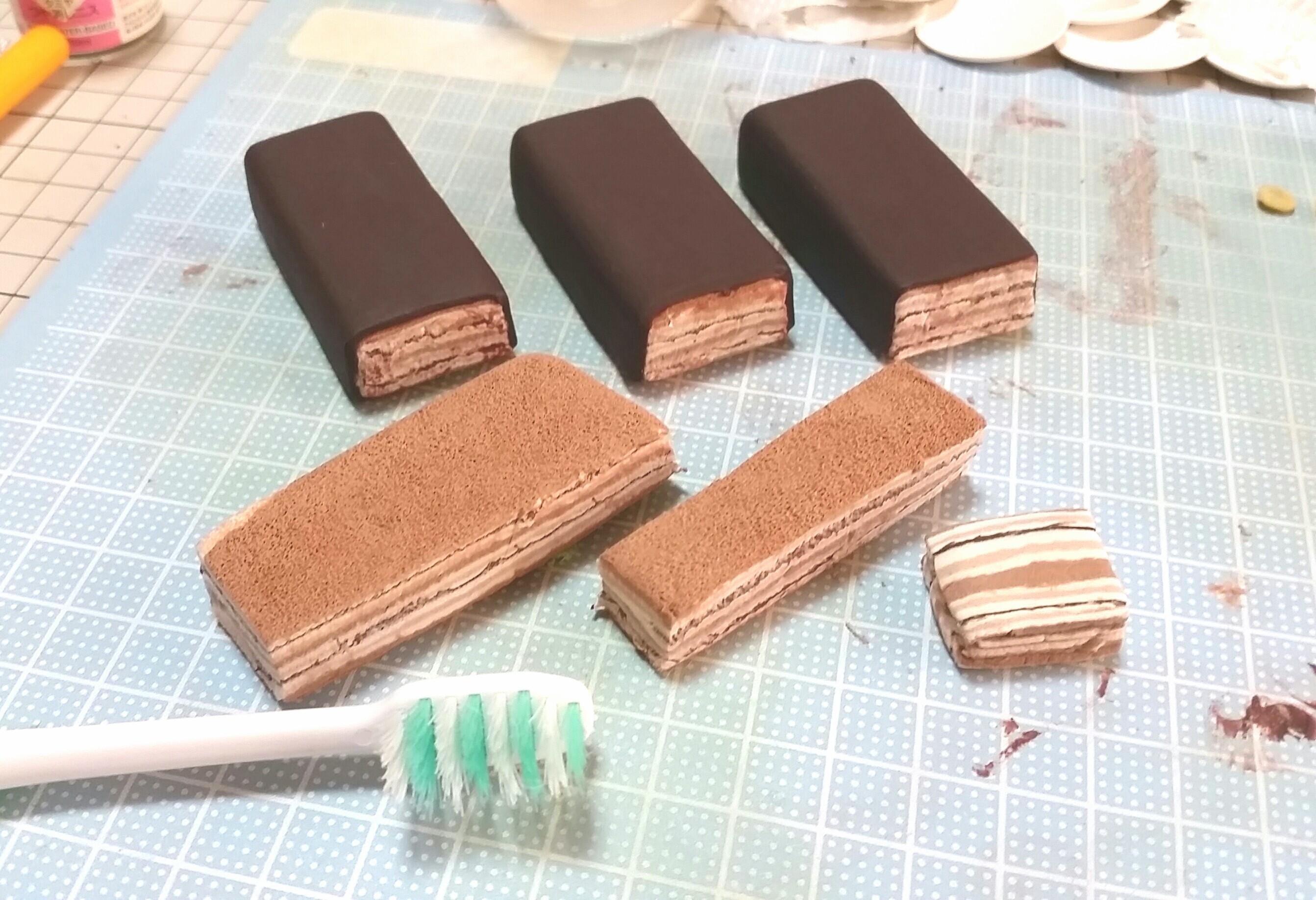 ハンドメイドミニチュア手作り,チョコレートケーキ,しっとりふわふわ