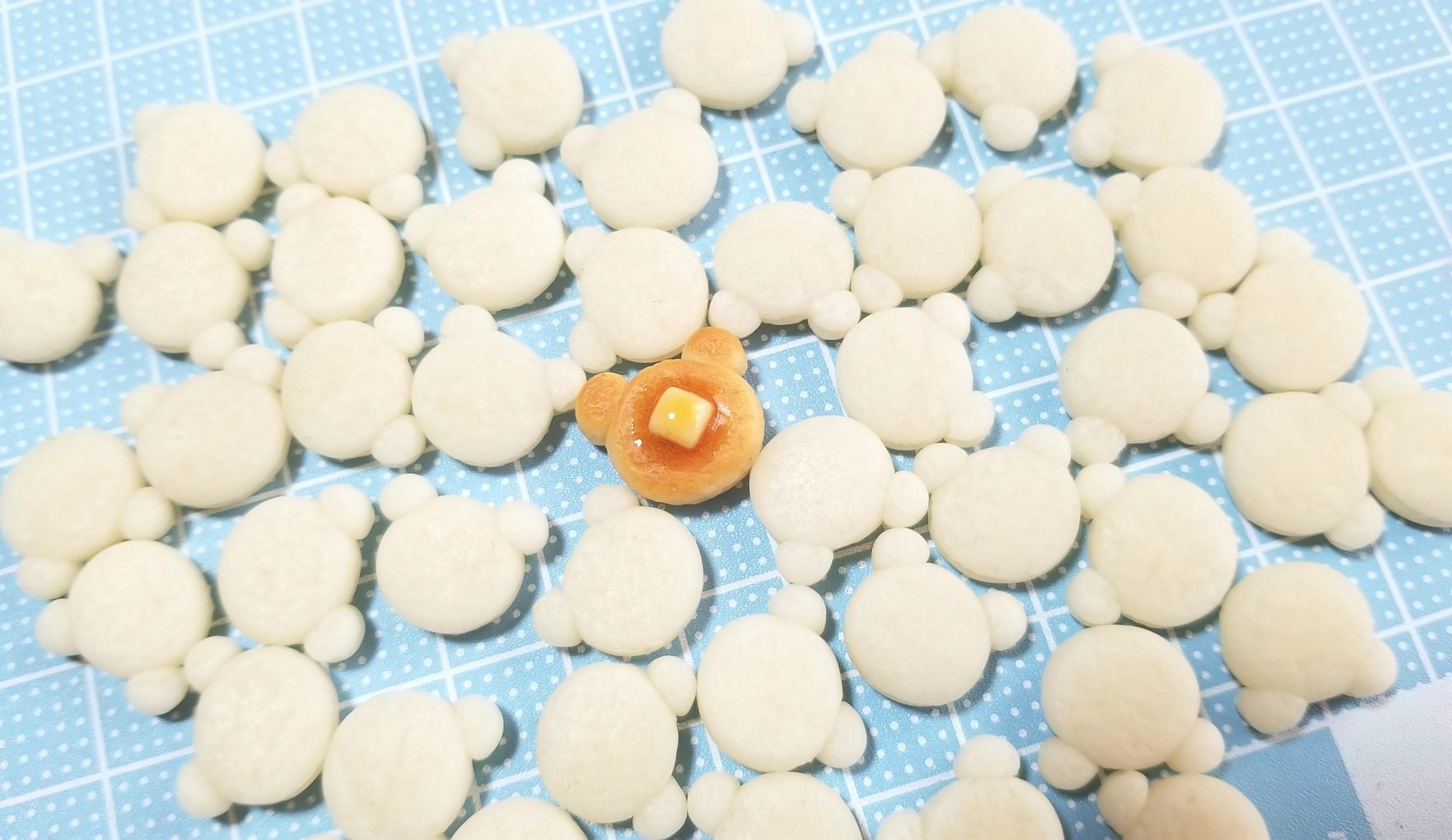 作り方,クマ,ホットケーキ,樹脂粘土,ミニチュアフード,ドールハウス