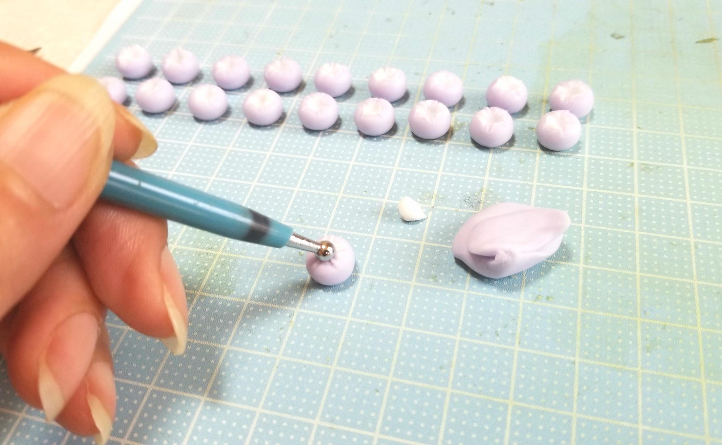 ミニチュアフード,朝顔,和菓子,樹脂粘土,練りきり,作り方,ブライス