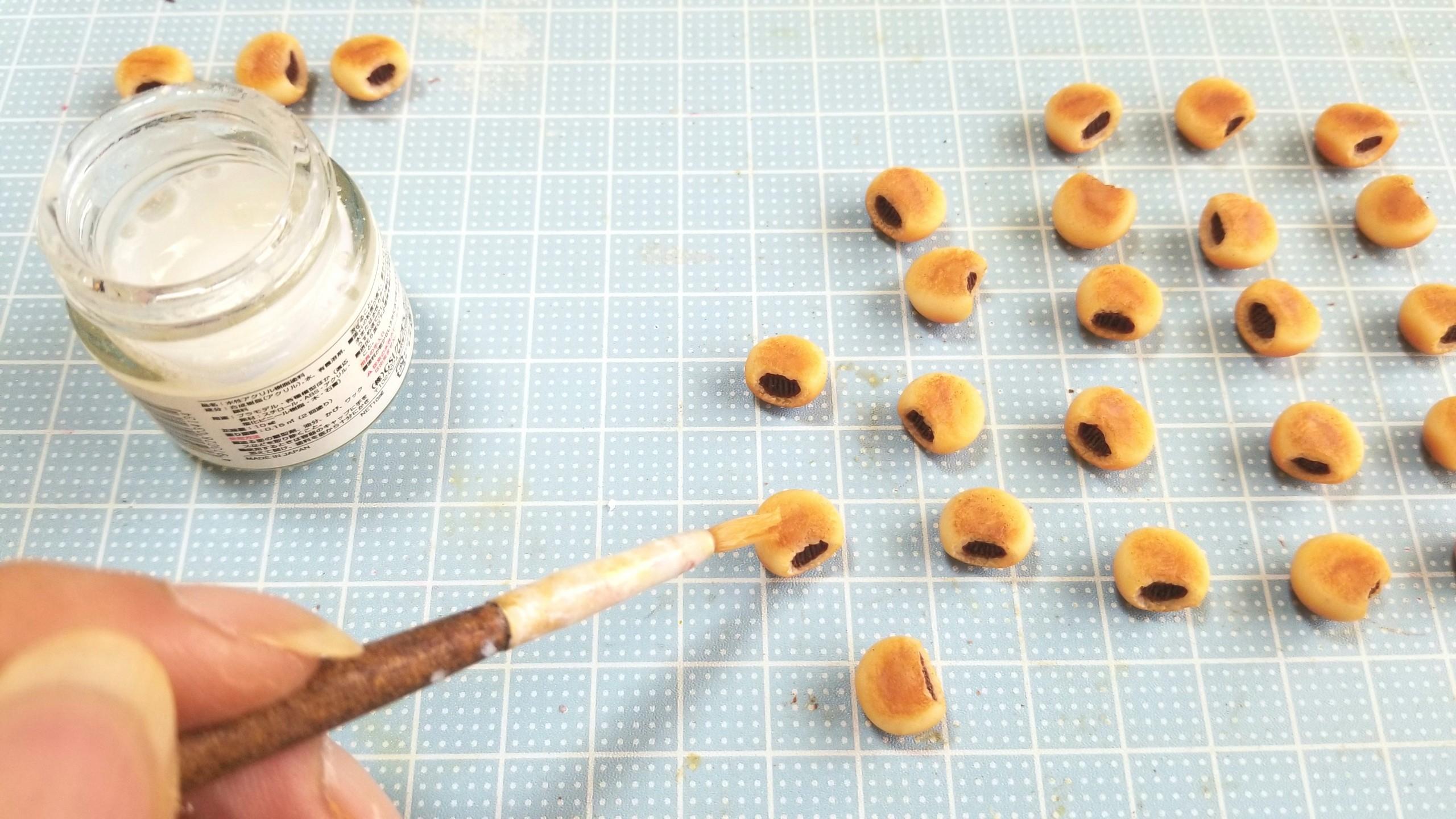ミニチュアの作り方,あんぱん,樹脂粘土,フェイクフード,おもちゃ
