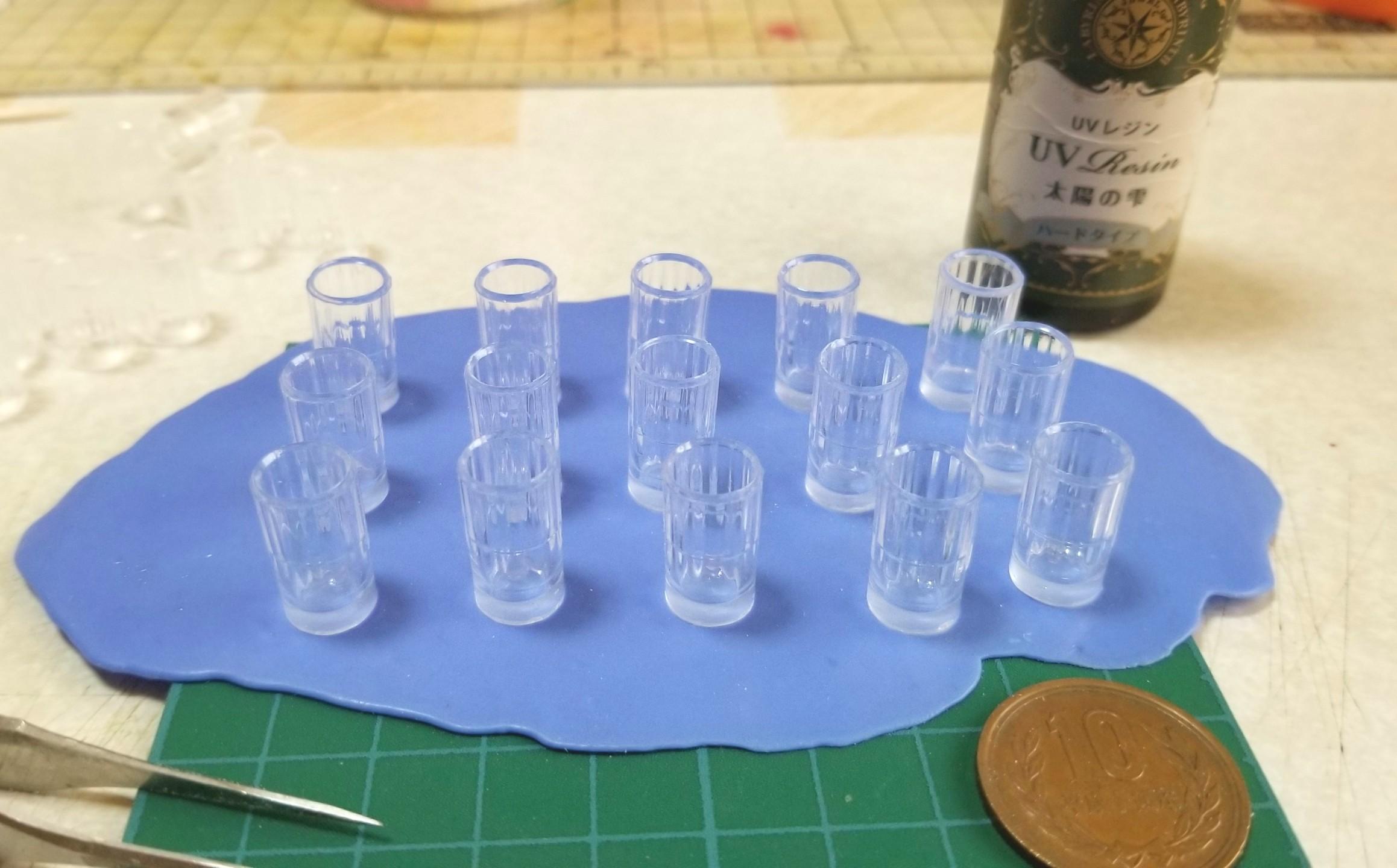 ミニチュアフード,グラス,コップ,作り方,UVレジン,樹脂粘土