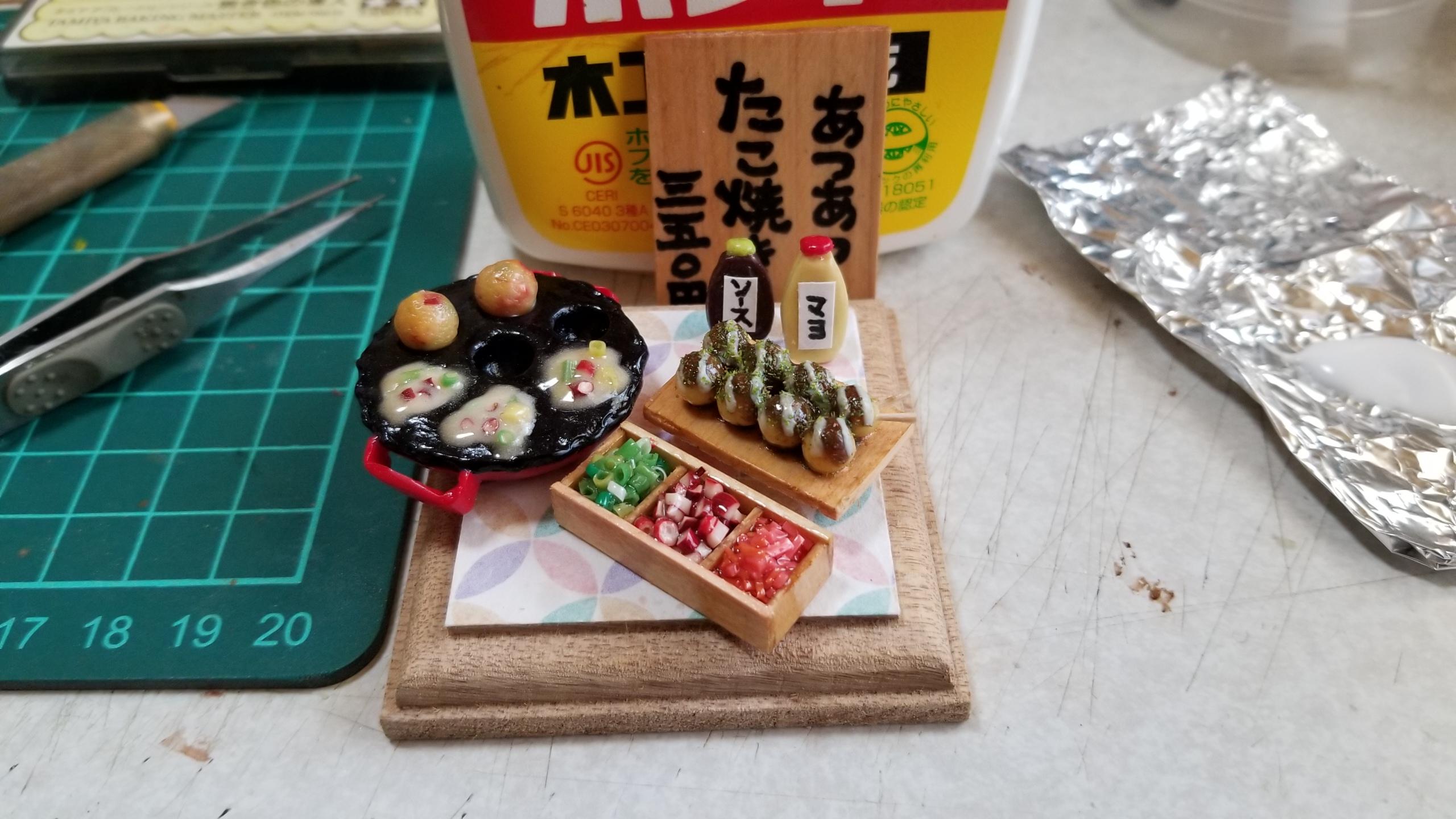 大阪たこ焼き器セット,樹脂粘土,ミニチュア,作り方,レジン,ドール