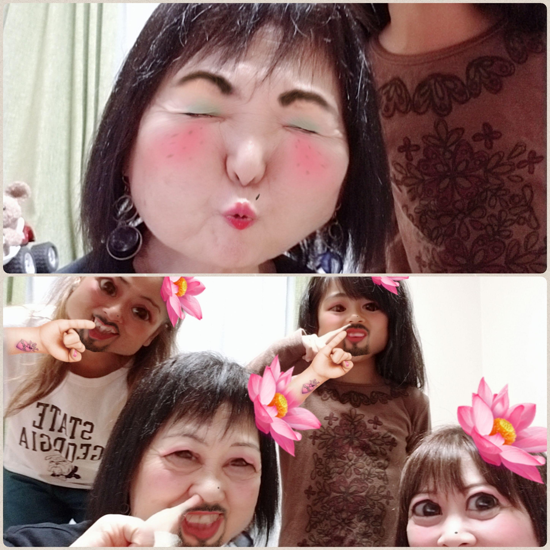 東京到着,神奈川の友達,SNOWで爆笑,お母さんデビュー,ウケる,怖い顔