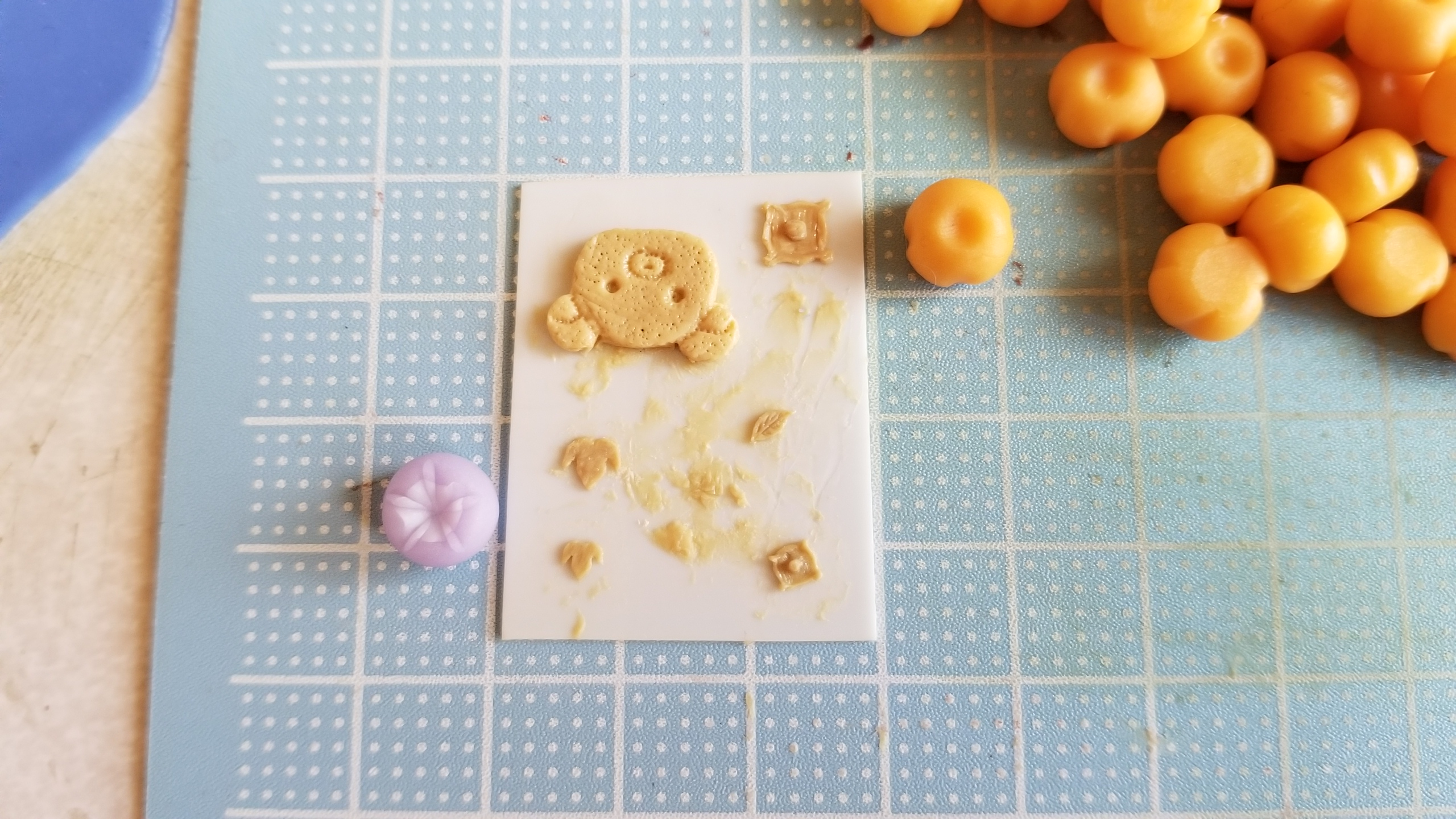 ミニチュアフード,和菓子,柿,朝顔,原型,複製,作り方,樹脂粘土