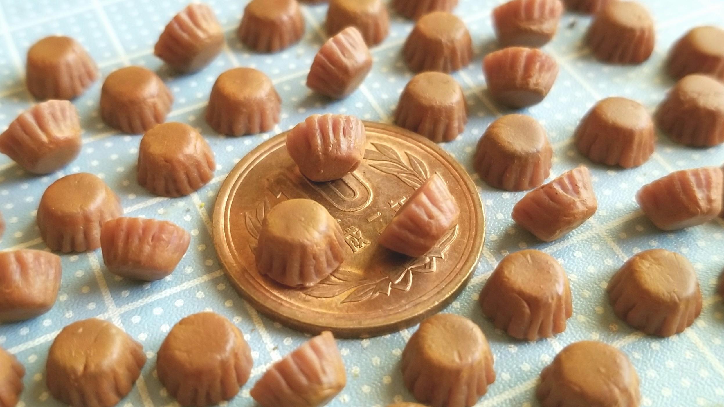 チョコレートカップケーキ,着色,作り方,ミニチュアフード,ドール