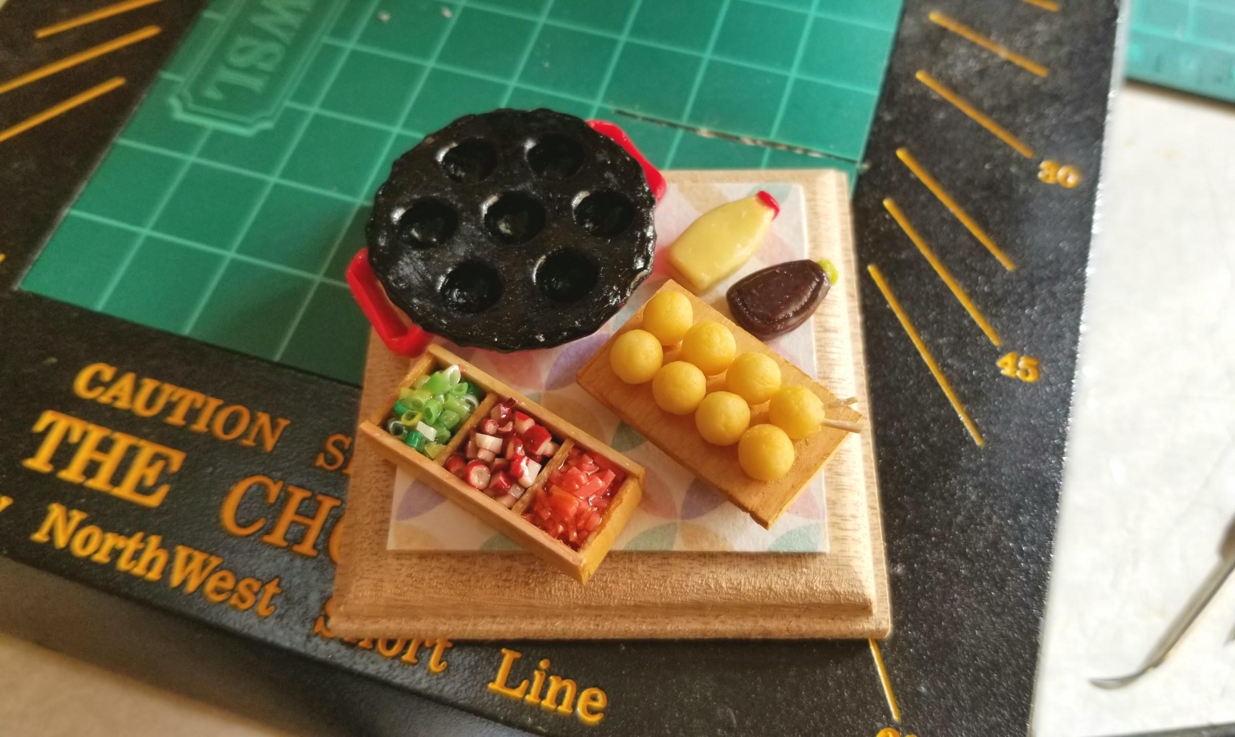 たこ焼き器,作り方,ミニチュア,樹脂粘土,フェイクフード,調味料