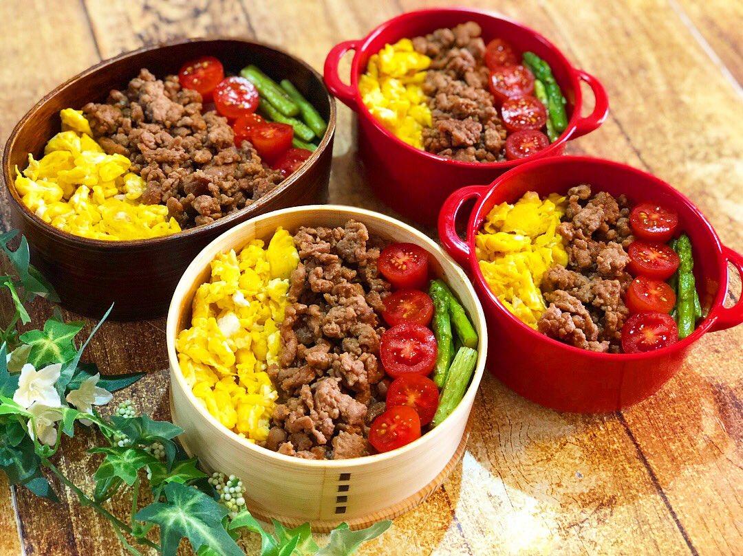お母さんの手作り弁当,美味しい三色そぼろ,仲良し親子でお揃い昼ご飯