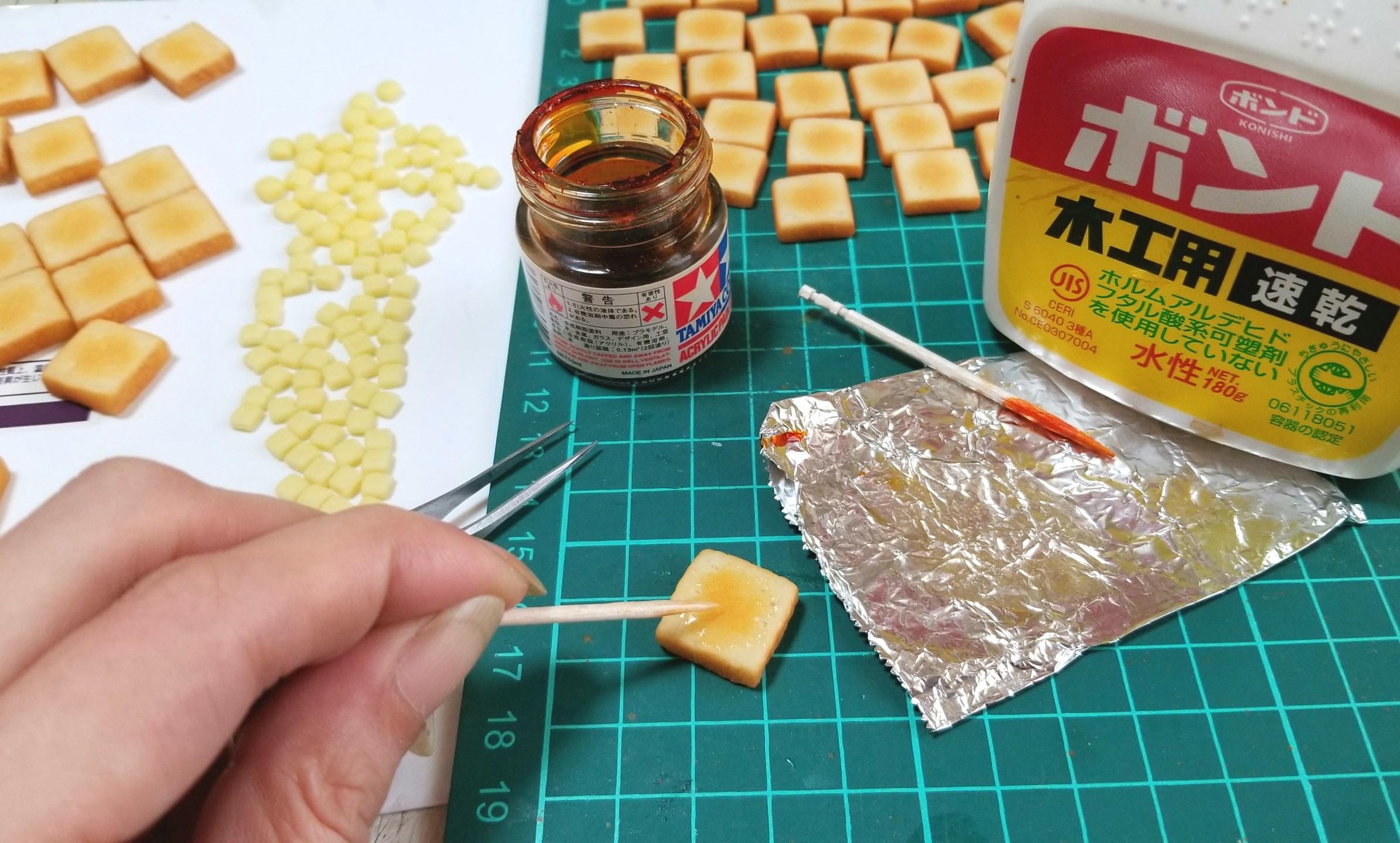 ミニチュアフード,バタートーストの作り方,樹脂粘土,ドールハウス