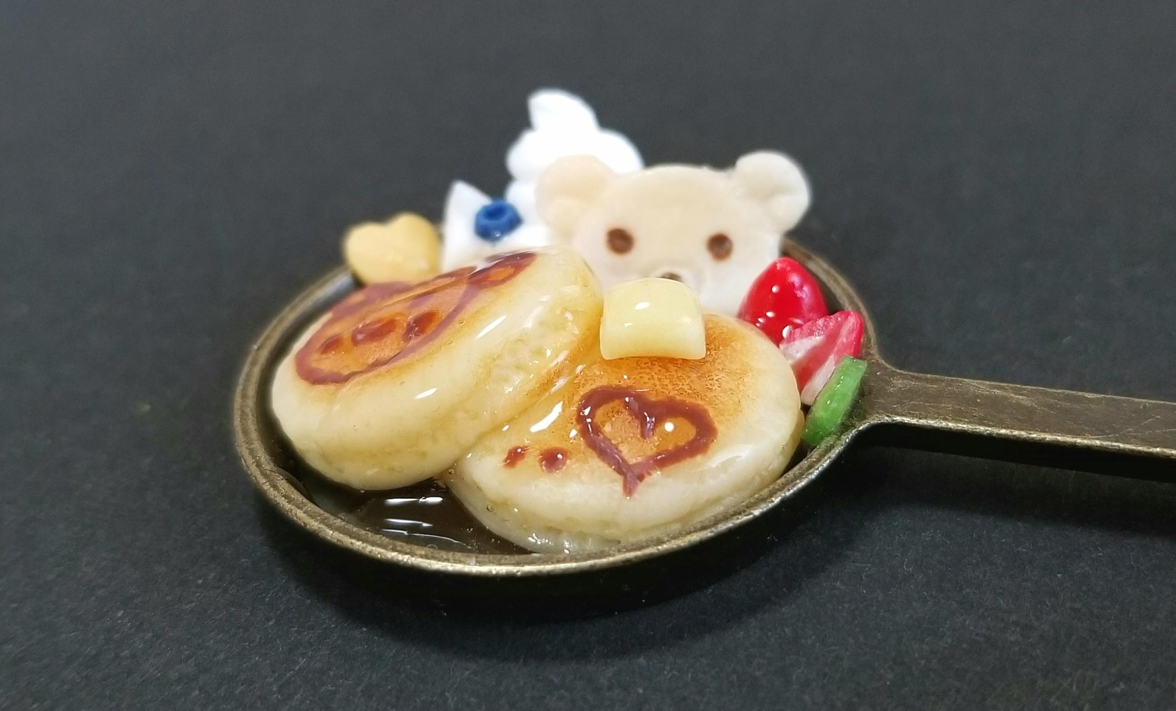 ミニチュアフード,クマちゃんホットケーキ,フェイクフード,樹脂粘土