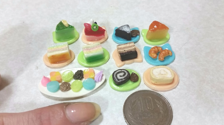 ロールケーキ,クッキー,ミニチュアフード,樹脂粘土,初心者用ブログ