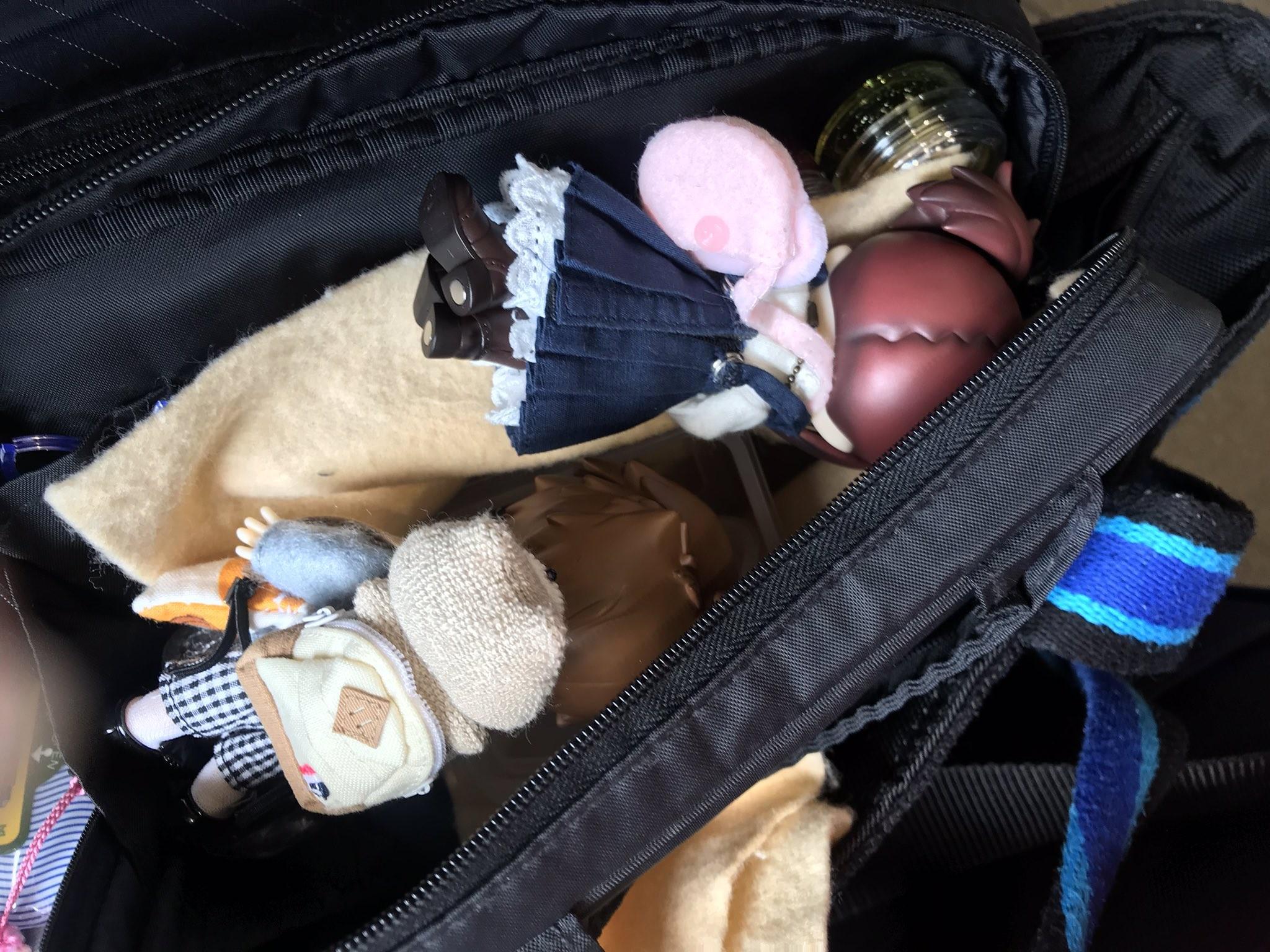 キューポッシュ,ドールが大変,ひっくり返る,バッグの中で転げる