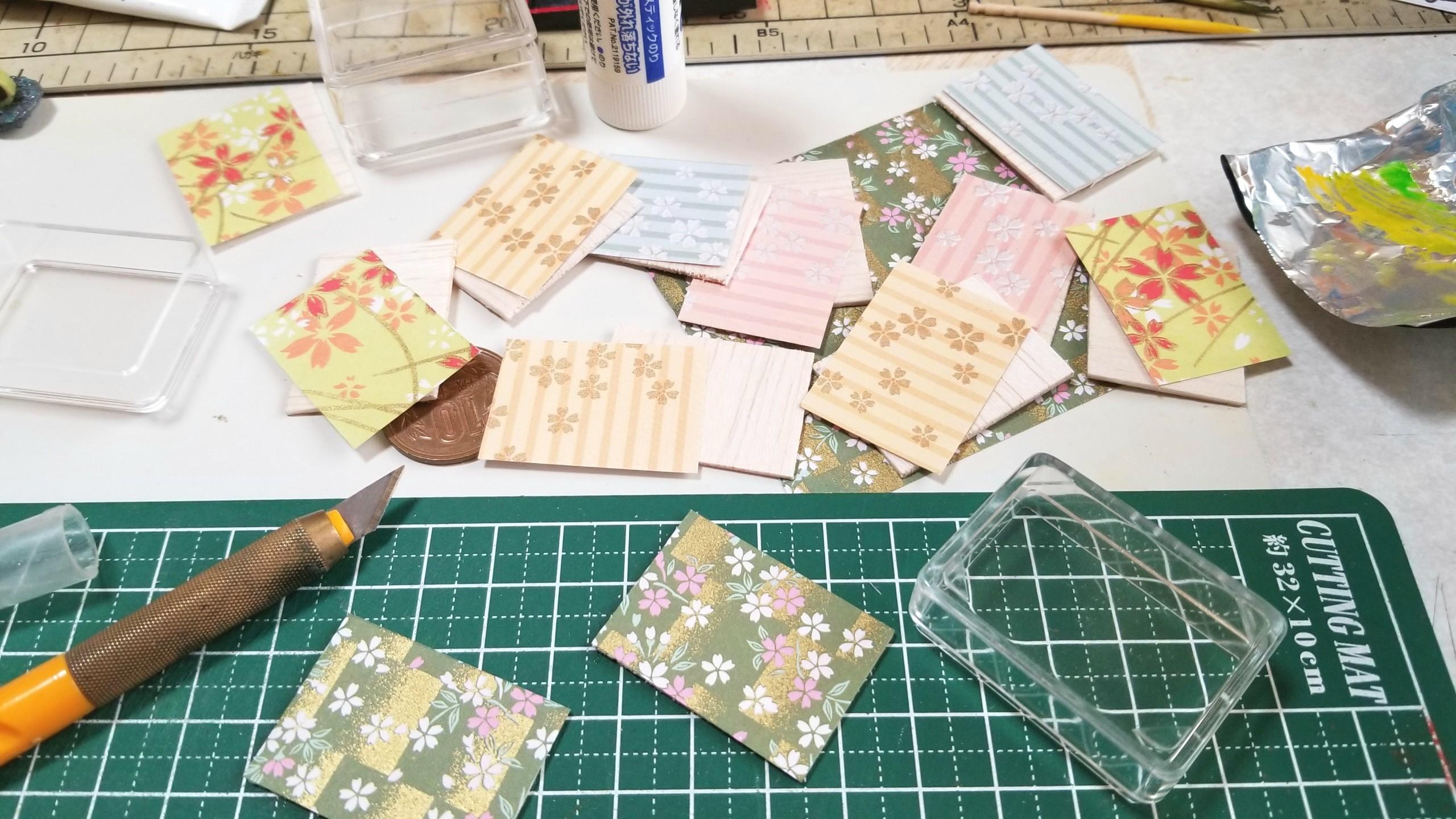 和菓子,台紙,土台,作り方,クリアケース,ミニチュアフード,千代紙