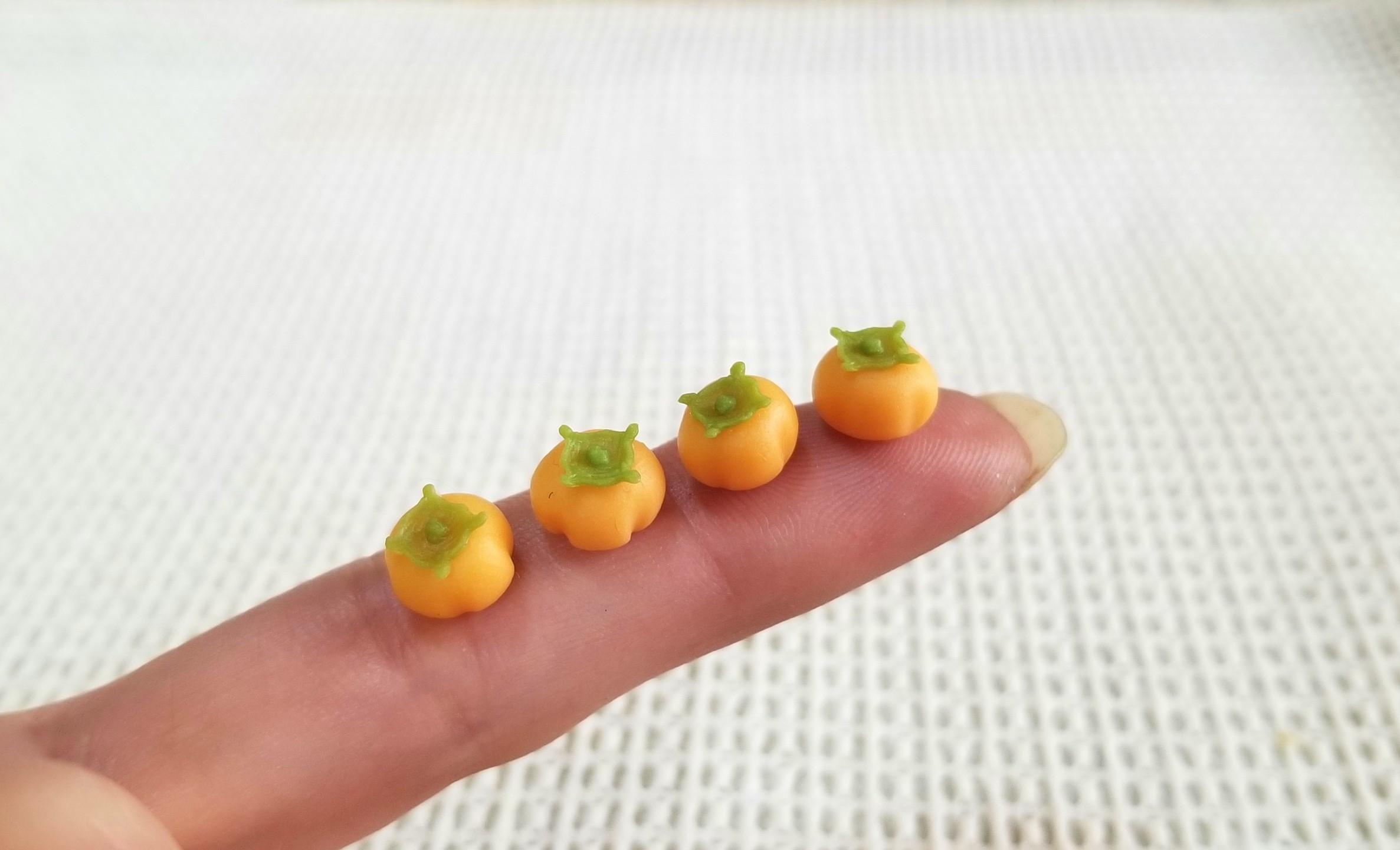ミニチュアフード,和菓子,柿,樹脂粘土,練りきり,食品サンプル,秋