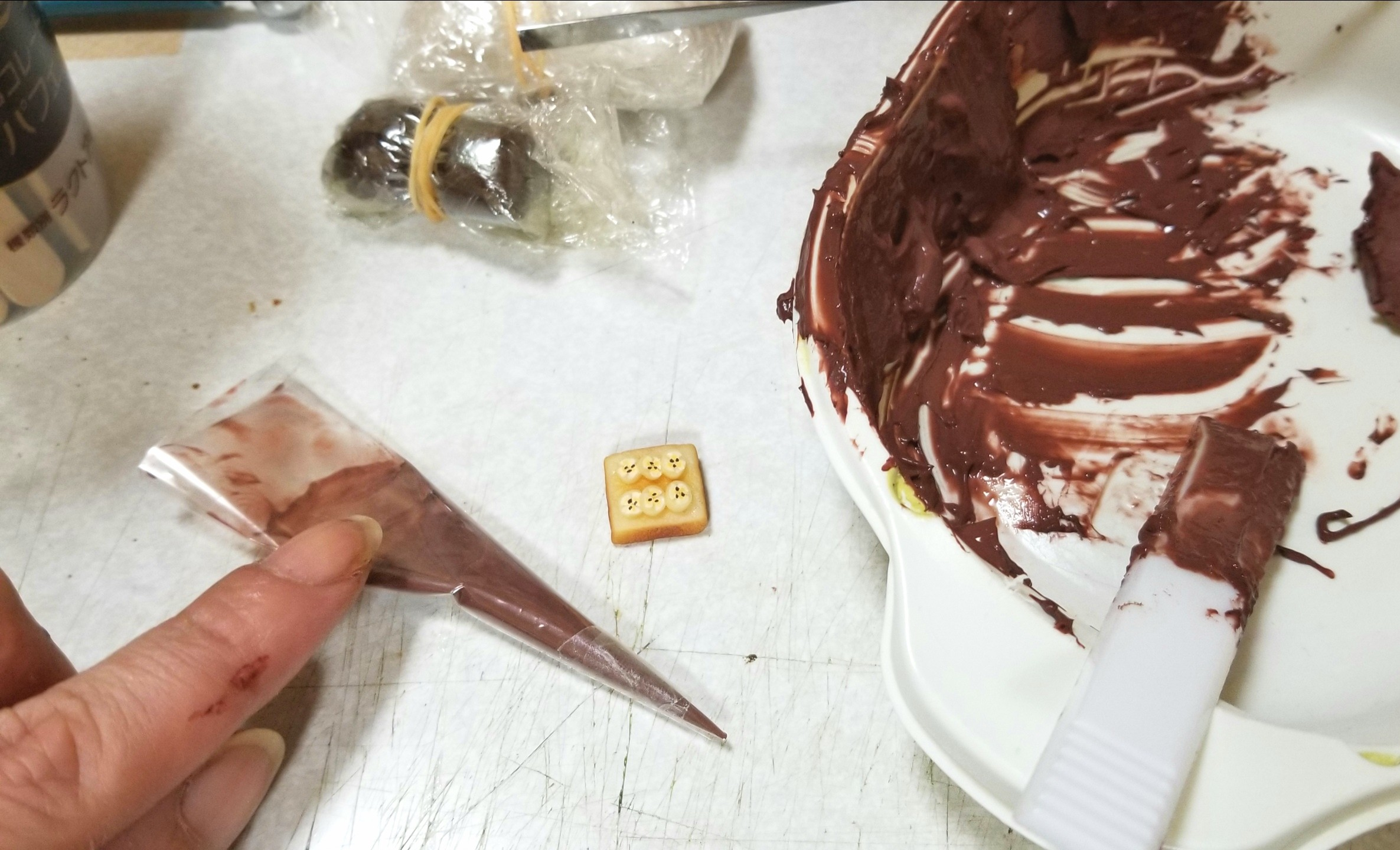 ミニチュアフード,チョコバナナトースト,作り方,食品サンプル