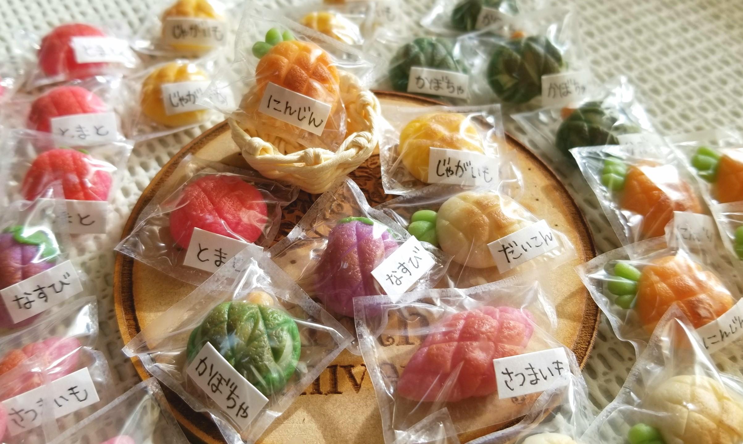 野菜のメロンパン,ミニチュアフード,包装,樹脂粘土,ミンネ販売中