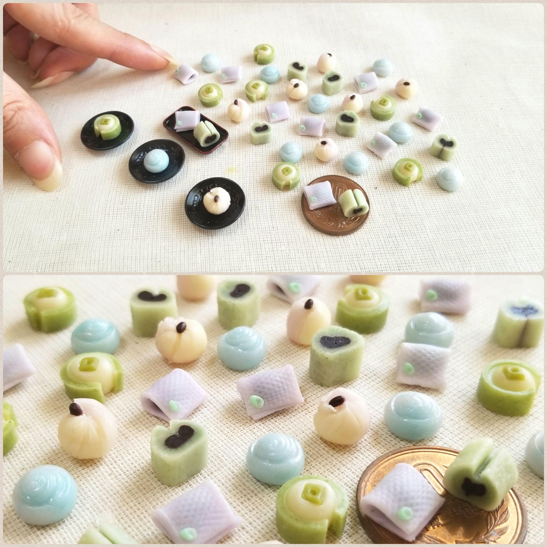 選べる和菓子,ミニチュア,樹脂粘土,ミンネで販売中,綺麗な生菓子
