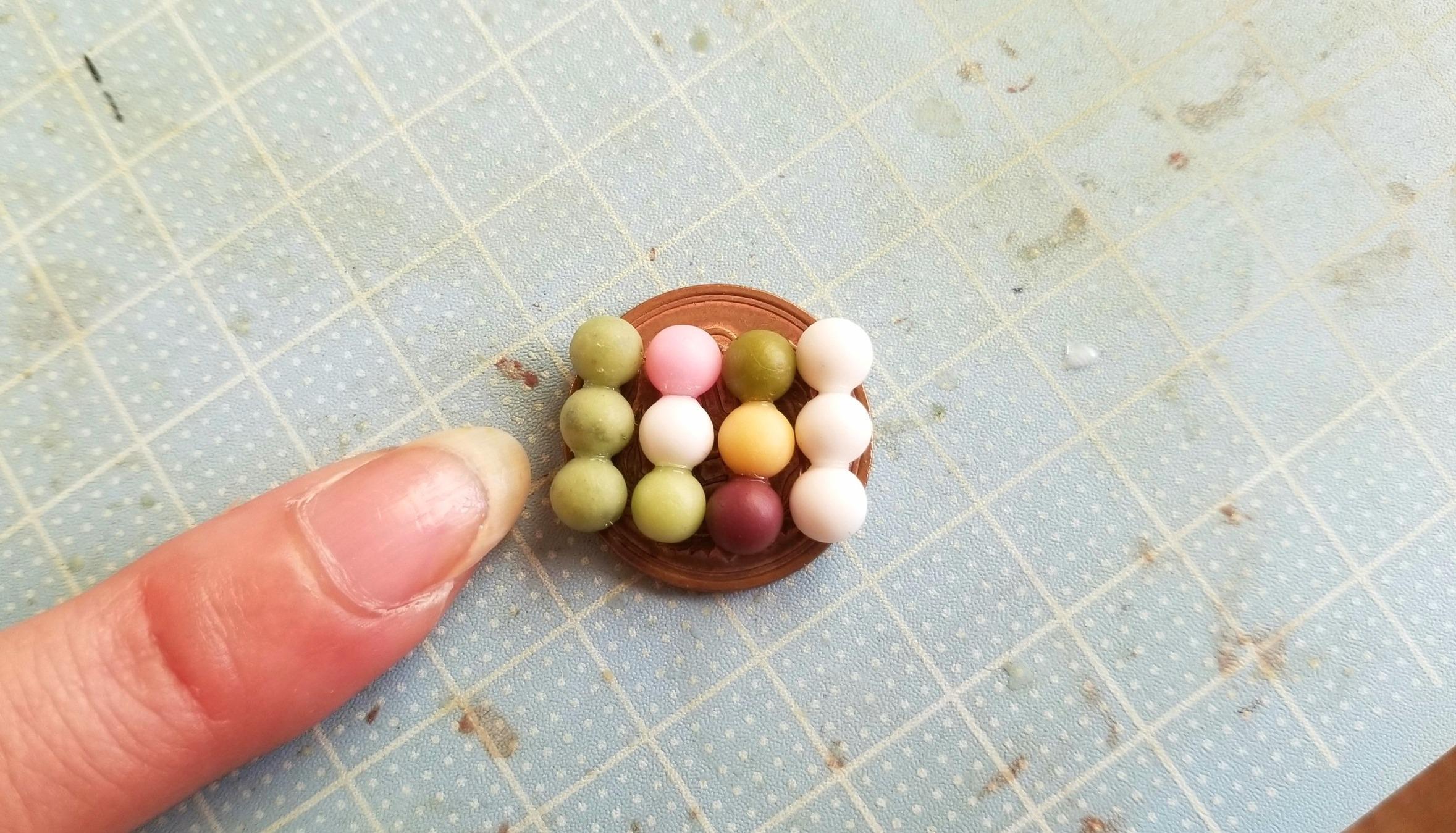 お団子,作り方,和菓子,ミニチュア,樹脂粘土,フェイクフード,丸玉