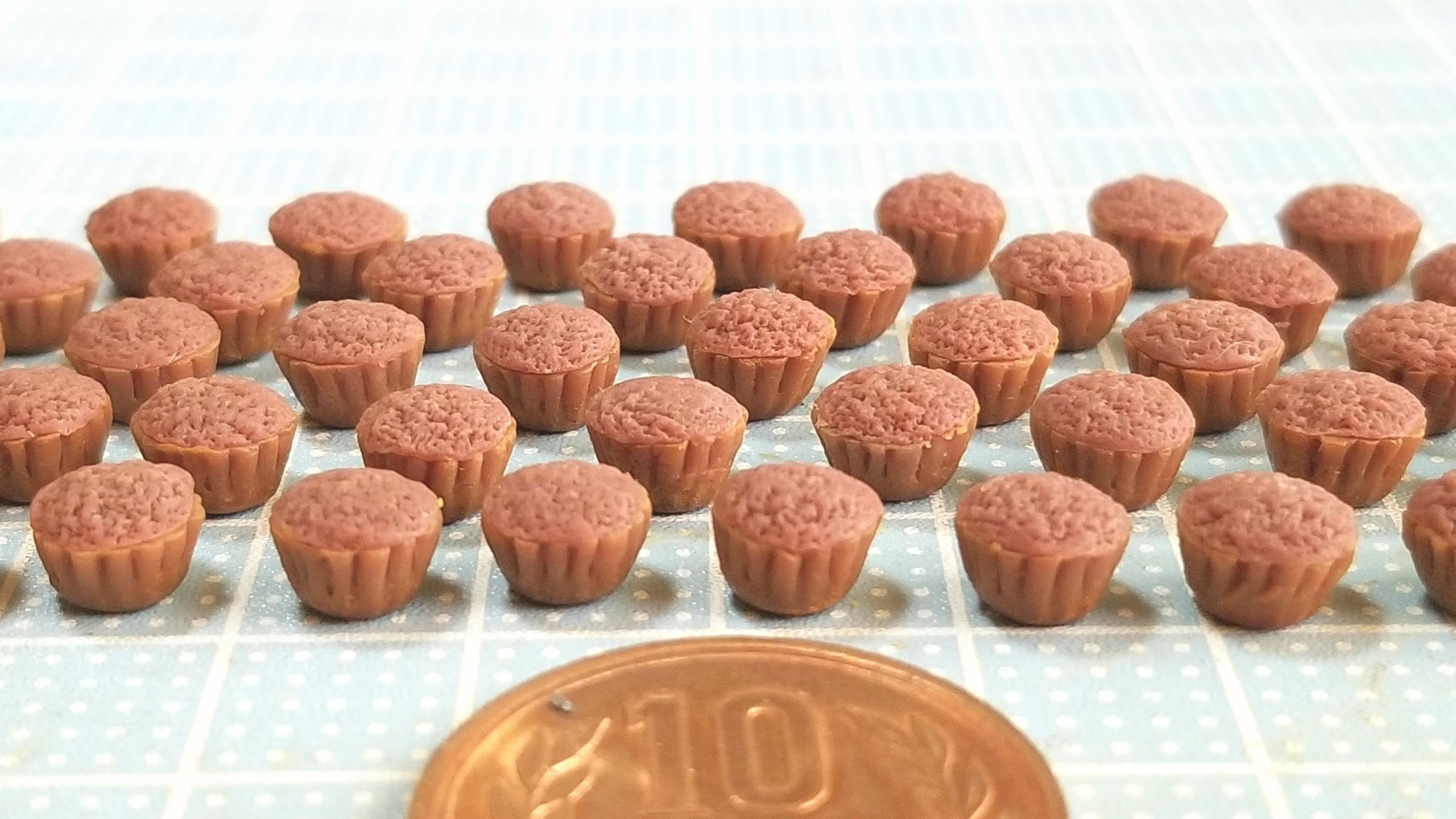チョコレートカップケーキ,作り方,ミニチュアフード,樹脂粘土,食玩