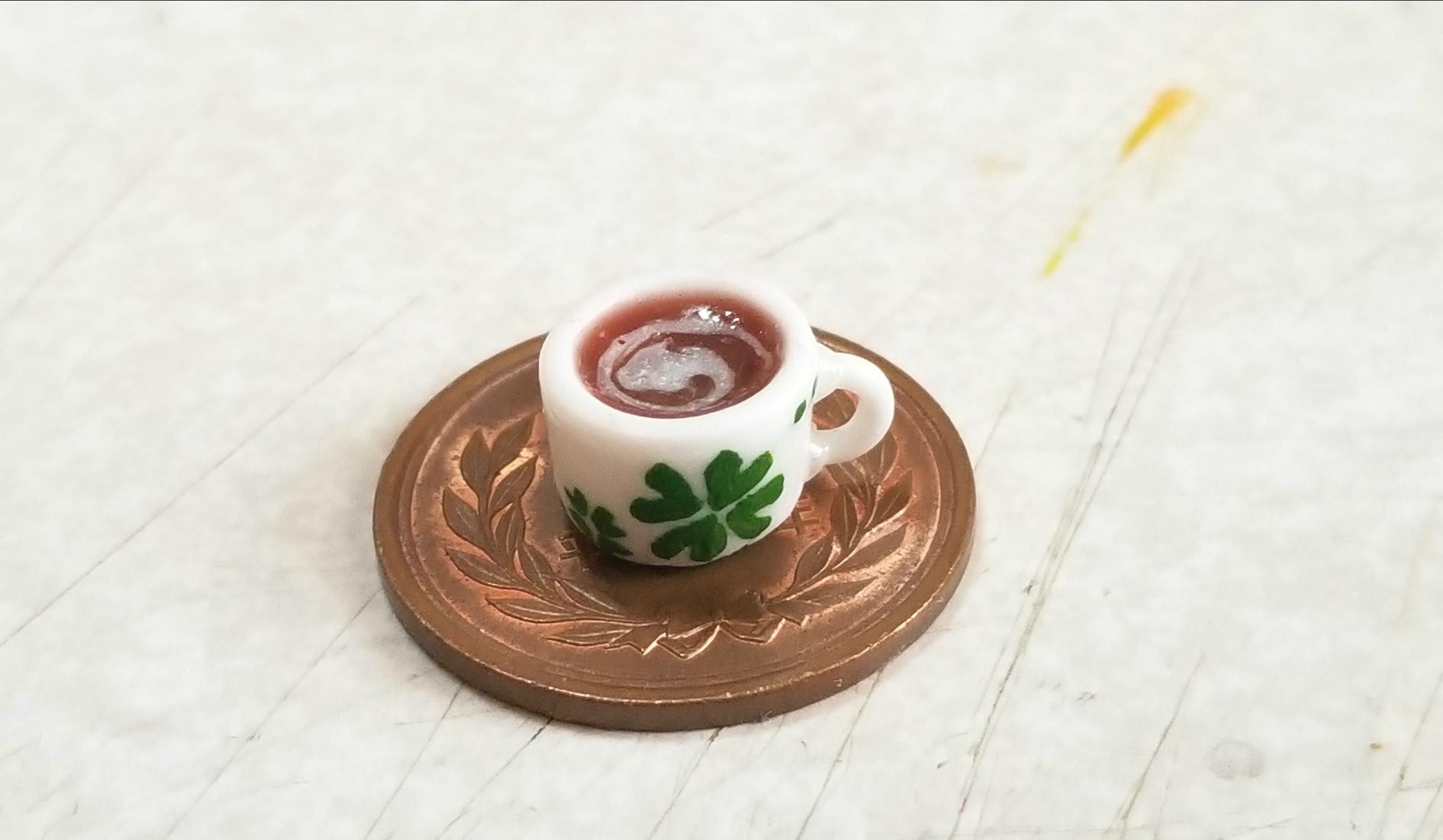 ティーカップ,ココア,作り方,樹脂粘土,コップ,あまむす,シルバニア