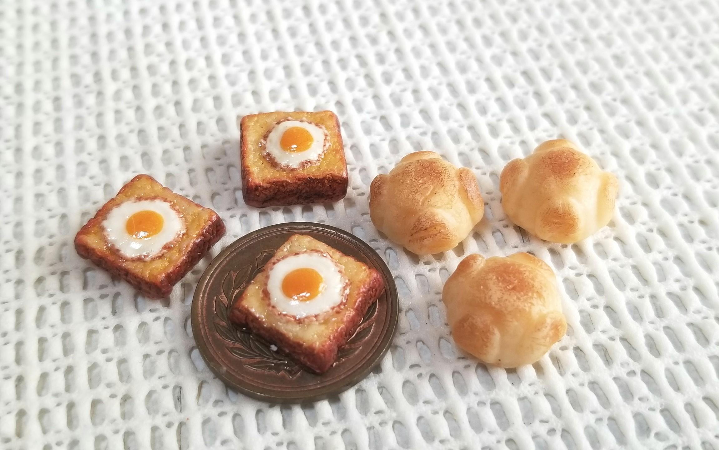 ミニチュア,目玉焼きトースト,パン,ミンネ,オーダー,食品サンプル