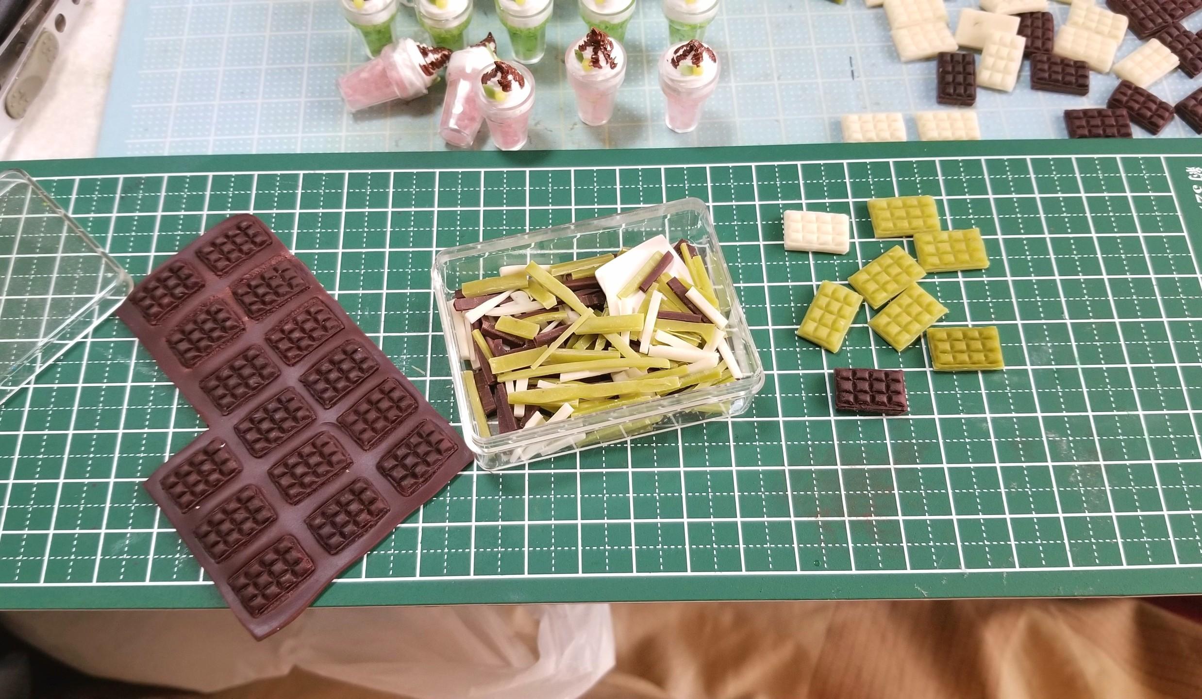 板チョコレート,作り方,ミニチュアフード,樹脂粘土,ドールハウス