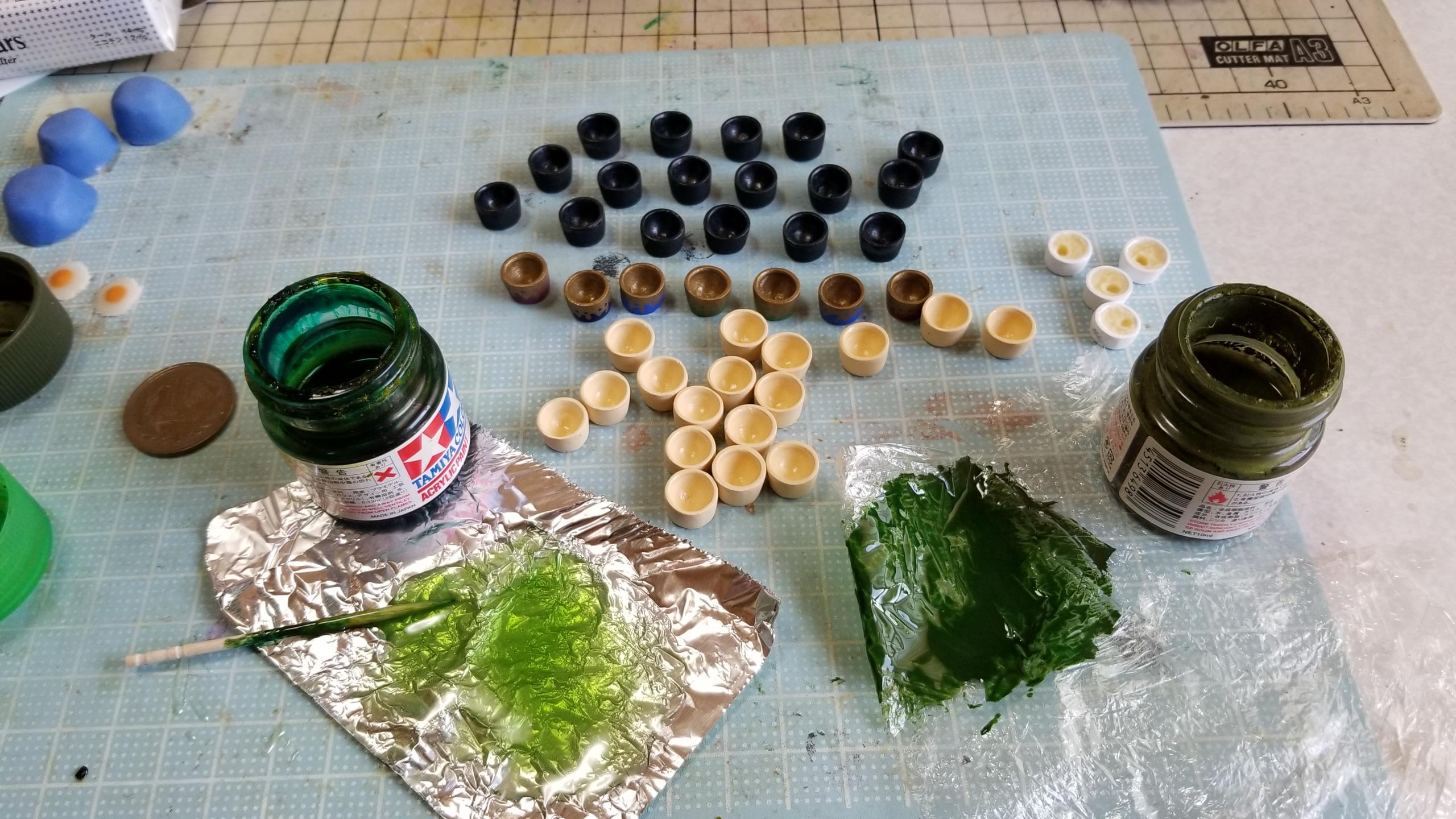 ミニチュアフード,抹茶,着色,色味,研究,作り方,実験,ドールハウス