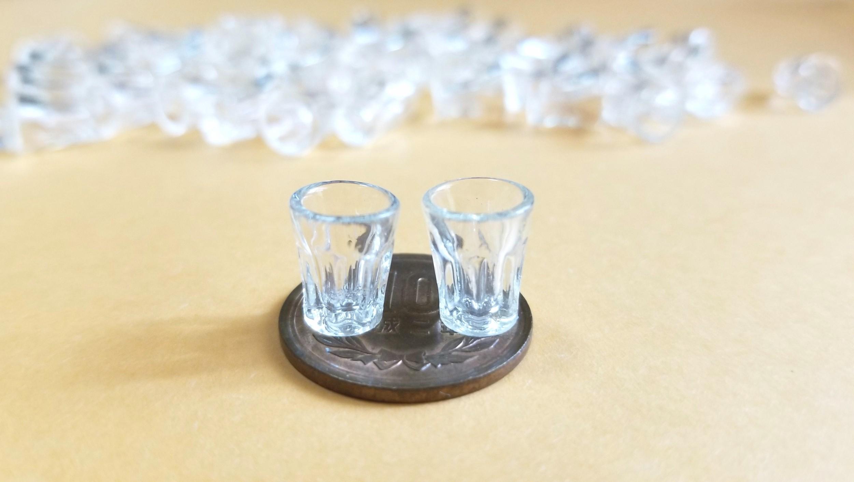 ミニチュアフード用の小さな透明グラス,コップ,カップ,既製品購入