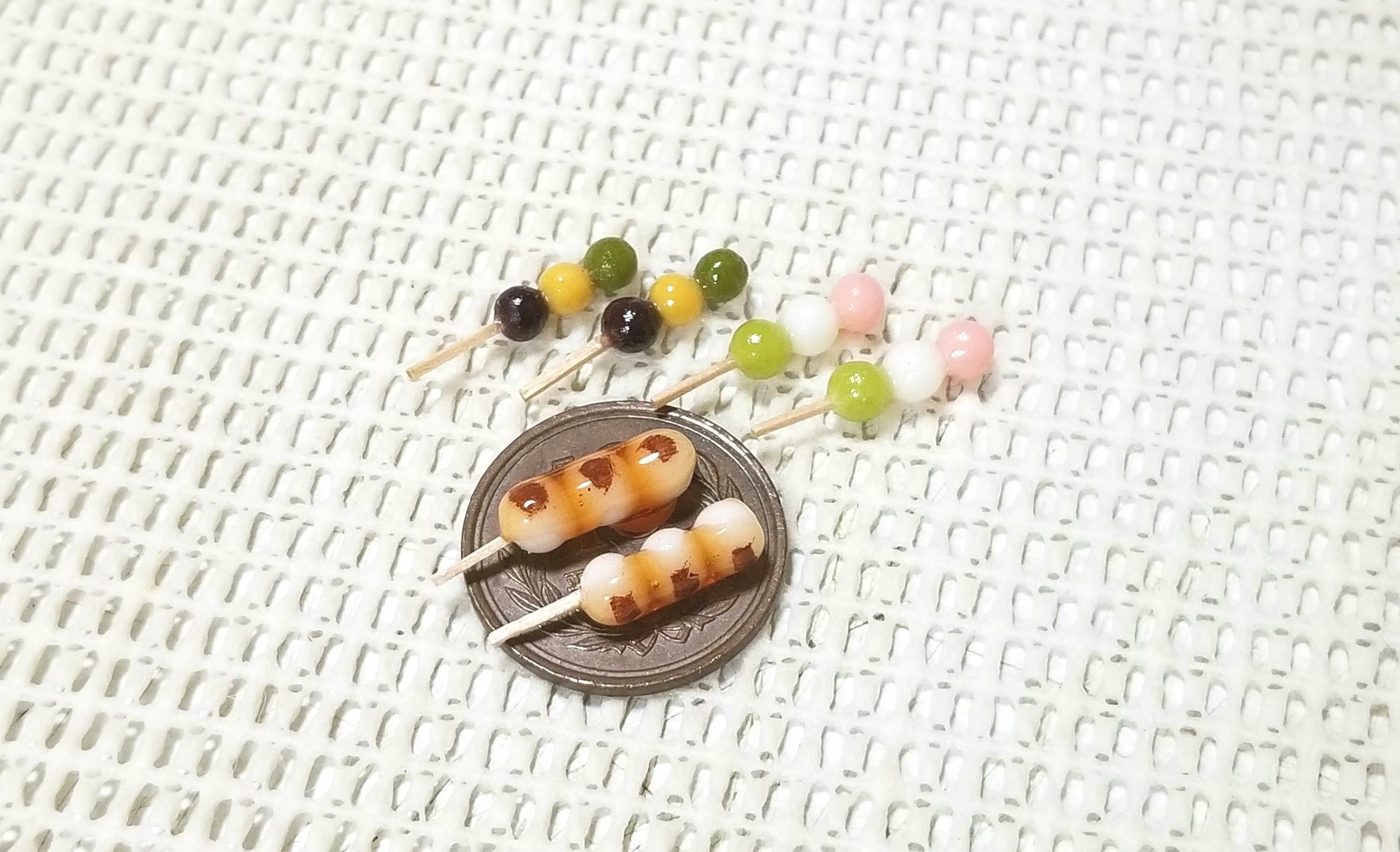 ミニチュアフード,ミンネ,オーダー品,樹脂粘土,和菓子,お団子,可愛い