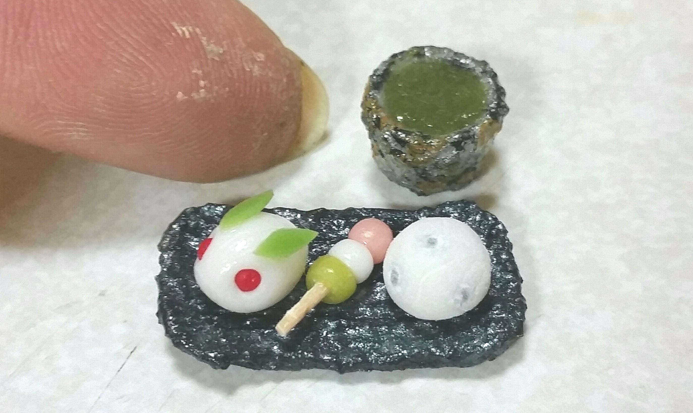 和菓子,甘味,うさぎ饅頭,団子,豆大福,ミニチュアフード,ドール用小物