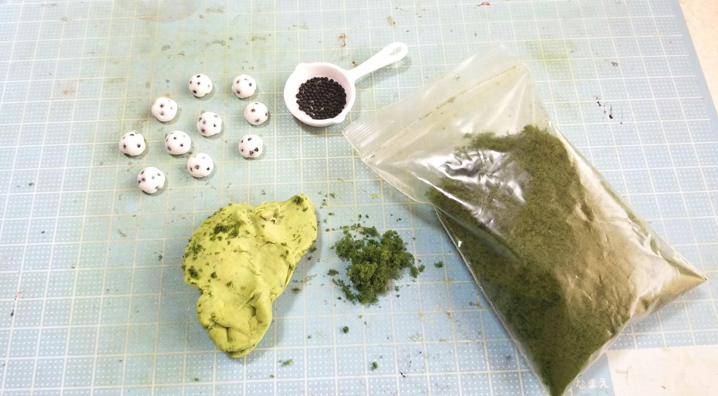 豆大福,よもぎ草餅,作り方,ミニチュアフード,和菓子,ドールハウス