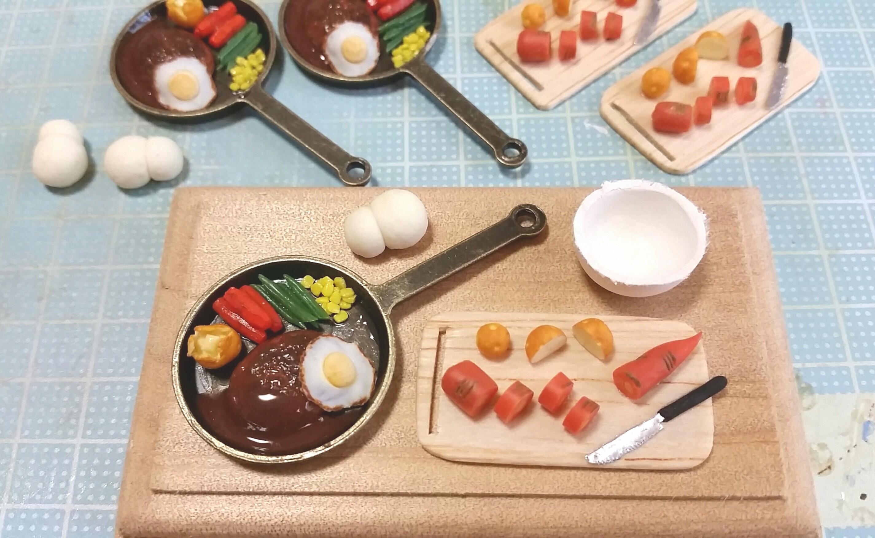 ミニチュアフード,かわいいハンバーグ,樹脂粘土,まとめ画像,自作