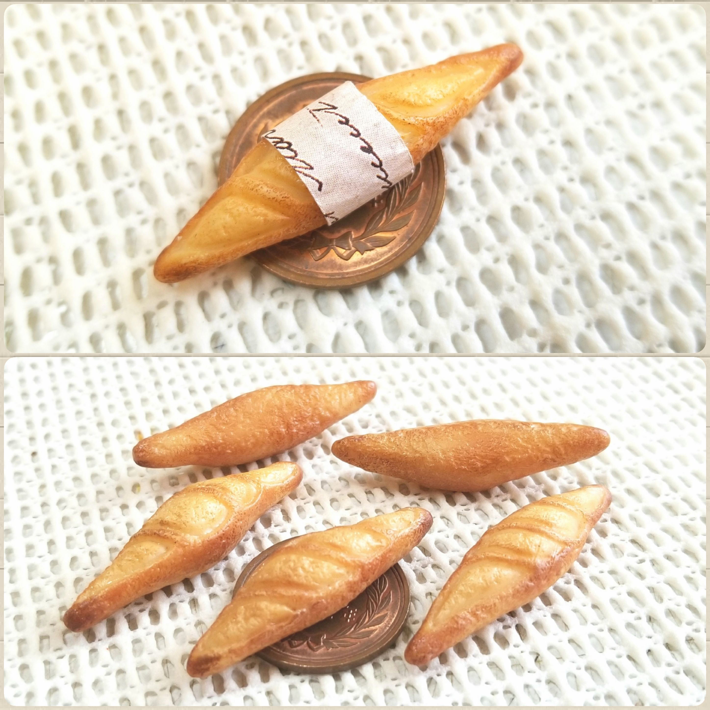 ミニチュアフード,パン,バケット,樹脂粘土,ミンネで販売中,こんがり