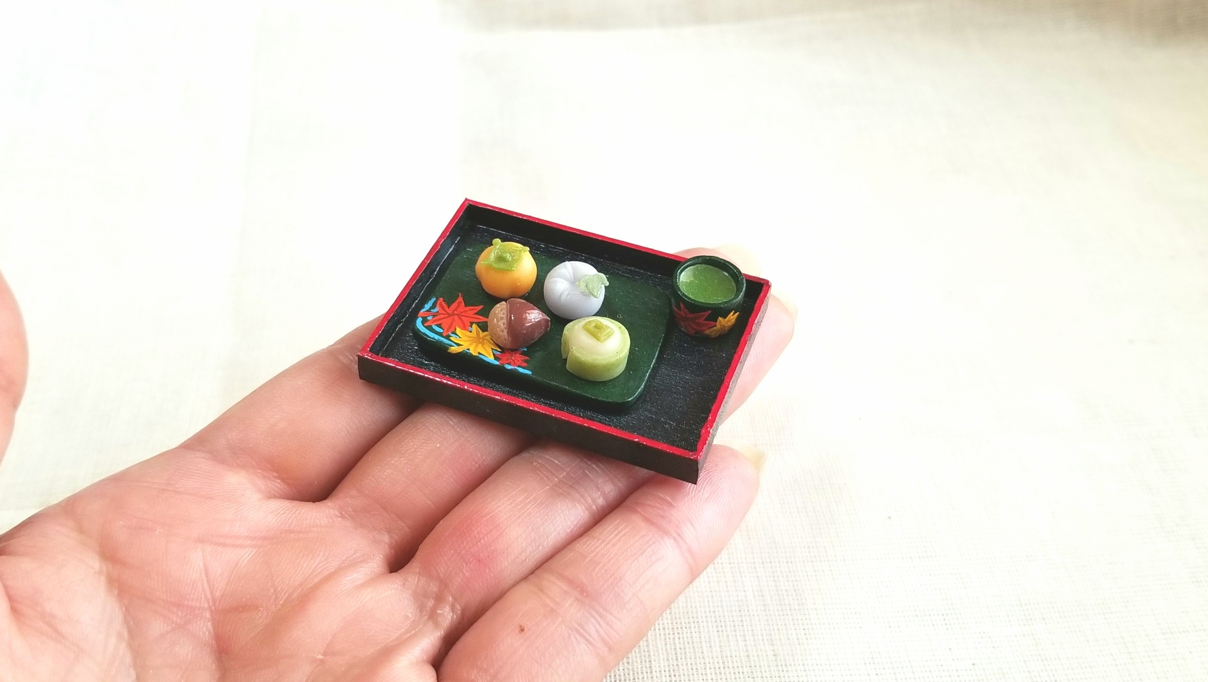 秋,季節の和菓子,ミンネで販売中,ミニチュアフード,樹脂粘土,ドール