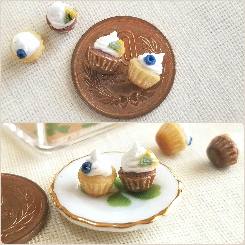 ぷちカップケーキ,ミニチュアフード,樹脂粘土,おいしそうな,ミンネ