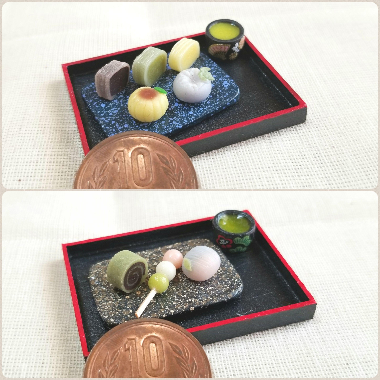 陶器風和皿,和菓子,ミニチュアフード,樹脂粘土,ミンネで販売中,季節