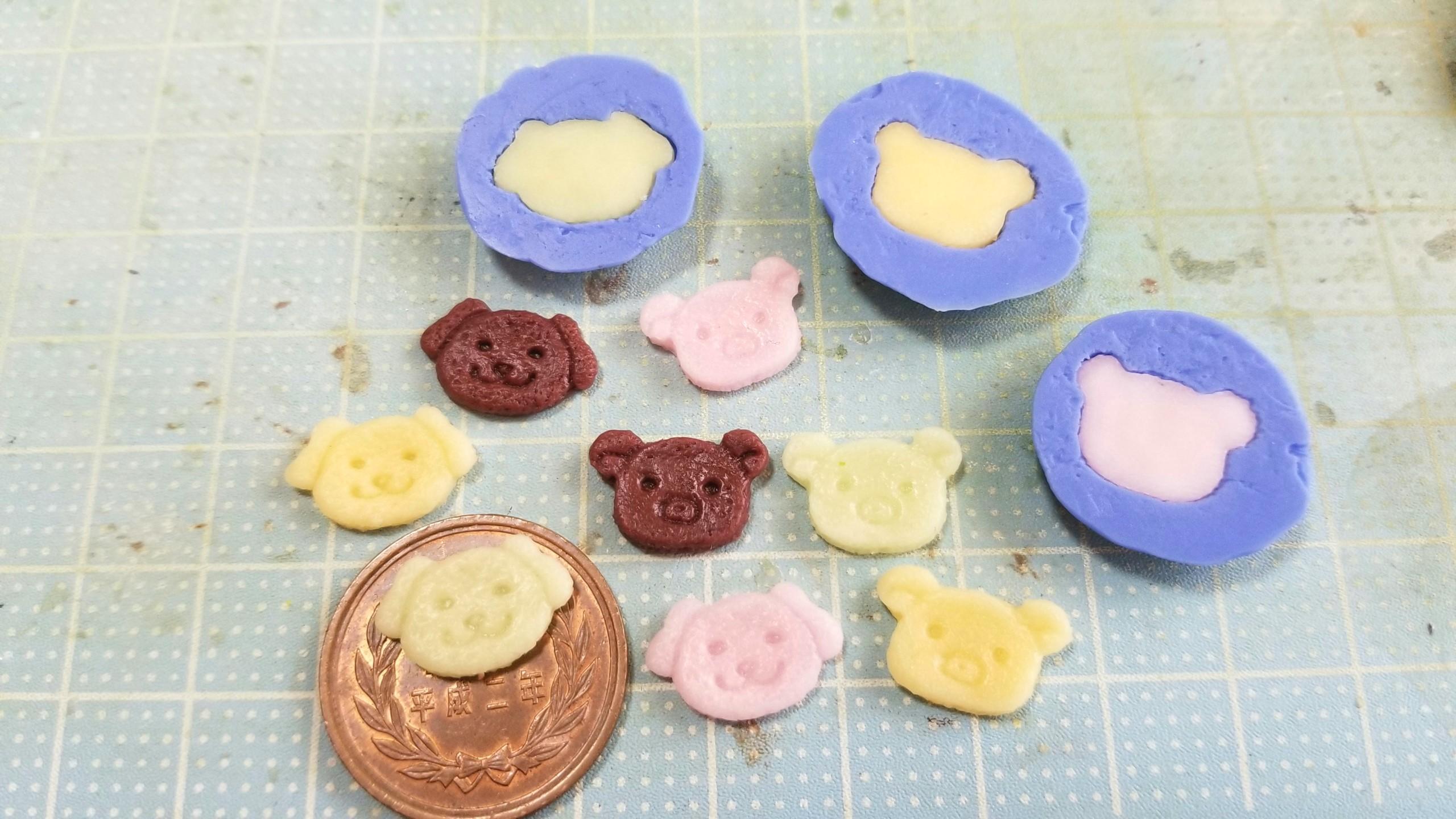 ミニチュアフード,クッキー,クマちゃん,作り方,樹脂粘土,ドール